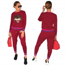 Lantejoulas Animal Manga comprida Sweatsuit