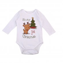 Baby Girl Print White Long Sleeves Christmas Rompers