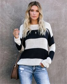 Wide Stripes O-Neck Straight Sweaters