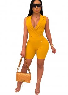 Plain Color Sleeveless V-Neck Bodycon Rompers