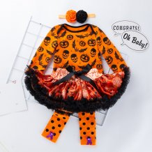 Baby Girl Four Pieces Halloween Tutu Dress Set