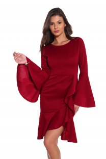 Red Ruffles Party Dress with Wide Cuffs