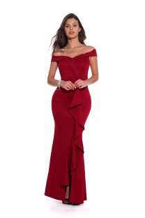 Red Off Shouldr Ruffles Evening Dress