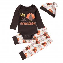 Baby Boy Autumn Print Pants Set with Hat