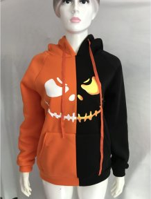 Print Halloween Contrast Sweat Hoody