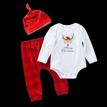 Baby Boy Print Christmas Pants Suit with Hat