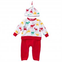 Baby Boy Christmas Pants Set with Hat