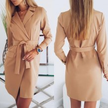 Solid Color Long Sleeve Blazer Dress with Belt