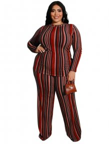Plus Size Stripes Hosen Set