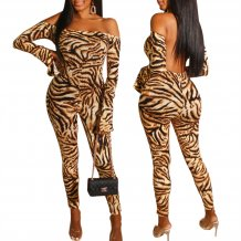 Seksi Backless Straplez Leopar Bodycon Tulum