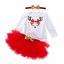Baby Girl Christmas Shirt and Tutu Skirt with Headbelt