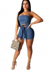 Blue Denim Strapless Sexy Bodycon Rompers