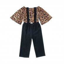 Kids Girl Leopard Top and Bib Pants