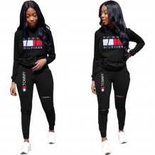 Print Long Sleeves Ripped Sweat Suit