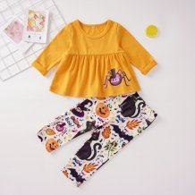 Kids Girl Print Halloween Pants Suit