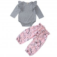 Baby Girl Long Sleeves Rompers and Floral Pants