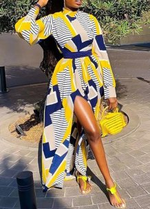 Long Sleeves Colorful Slit African Maxi Dress