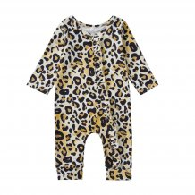Baby Girl Long Sleeves Leopard Jumpsuit Rompers