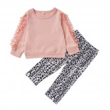 Kids Girl Ruffle Shirt and Leopard Pants
