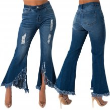 Stylish Bell Bottom Ripped Jeans