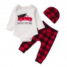 Baby Boy Christmas Plaid Suit with Hat