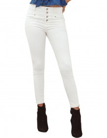 White High Waist Tight Jeans