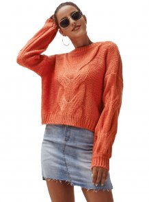 Long Sleeves Round Neck Short Sweater