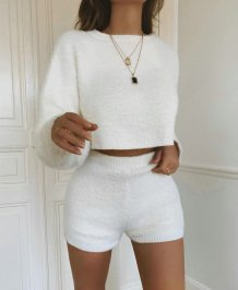 White Plush Crop Top and Shorts Set
