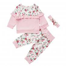 Kids Girl Floral Sweat Suit with Headband
