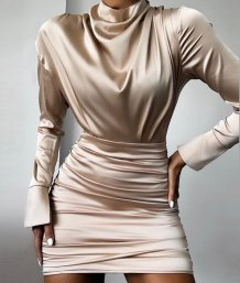 Sexy Long Sleeves Ruched Satin Dress