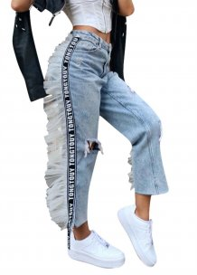 Light Blue Patchwork Rip Jeans