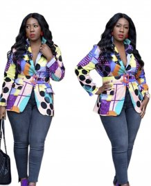African Colorful Long Sleeve Blazer with Belt