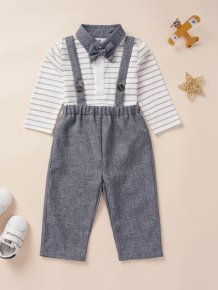 Kids Boy White and Grey Striped Shirt and Bib Pants