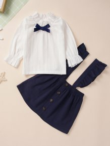 Kids Girl White Shirt and Blue Bib Skirt