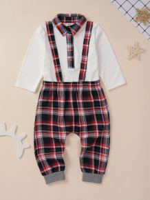 Kids Boy Plaid Shirt and Bib Pants