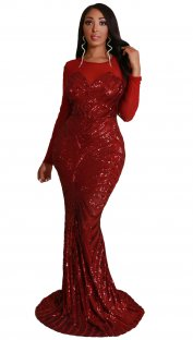 Red Sequins Long Sleeves Mermaid Evening Dress