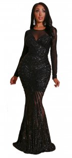 Black Sequins Long Sleeves Mermaid Evening Dress