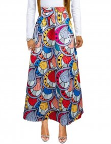 Print Colorful African Maxi Skirt