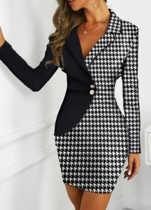 White and Black Print Wrap Office Dress