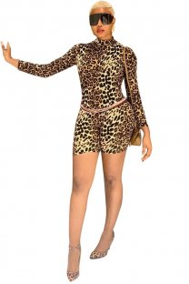 Print Leopard Long Sleeve Bodycon Rompers