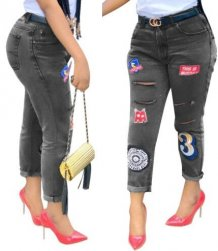 Stylish High Waist Applique Jeans