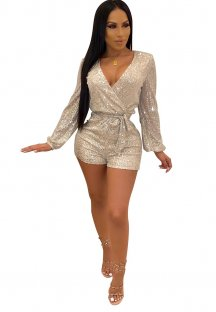 Sexy Sequins Long Sleeve Rompers with Belt