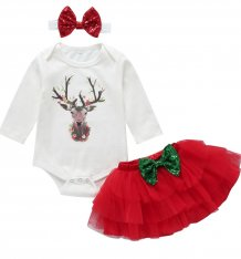 Baby Girl 3pc Christmas Skirt Set
