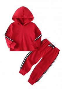 Kids Girl Red Long Sleeves Hoody Sweatsuit
