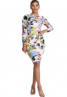 Print Character Long Sleeve Bodycon Dress