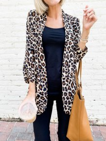 3/4 Sleeves Leopard Print Long Blazer