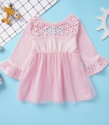 Kids Girl Hollow Out A-Line Pink Dress