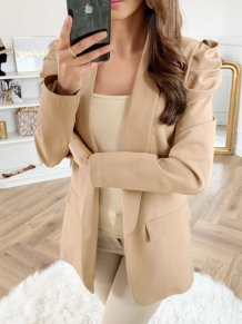 Elegant Khaki Blazer with Pop Sleeves
