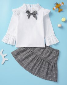 Kids Girl White and Grey Plaid Skirt Set