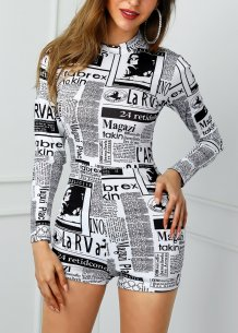 Newsletter Print Long Sleeve Bodycon Rompers